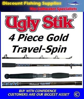 "Shakespeare UGLY STIK Gold Travel Spin Rod 6'6"" 4pc"
