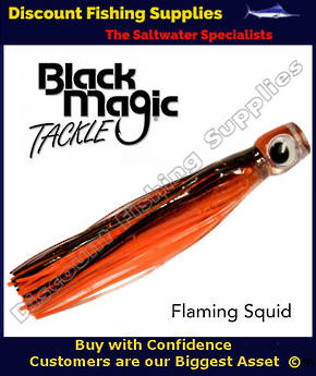 Black Magic Maggot Tuna Lure - Flaming Squid (18)