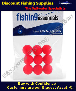 FISHING ESSENTIALS 12MM RED BALL FLOAT (9 PACK)