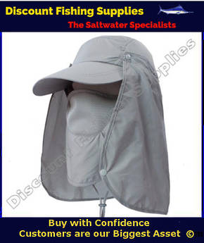 Fishing Cap With Removable Flaps - Grey