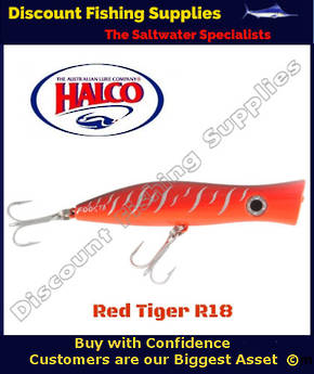 Halco Roosta Popper HAYMAKER 195mm Red Tiger