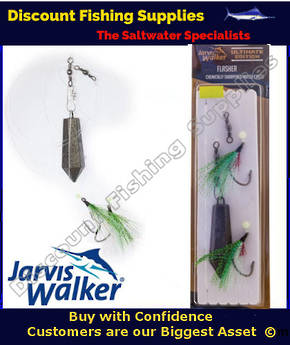 Jarvis Walker Twin Hook Flasher Rig with Sinker 4/0 Chartreuse