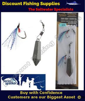 Jarvis Walker Twin Hook Flasher Rig with Sinker 3/0 Blue Pearl