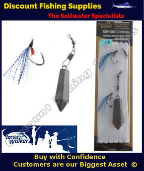 Jarvis Walker Twin Hook Flasher Rig with Sinker 7/0 Blue Pearl