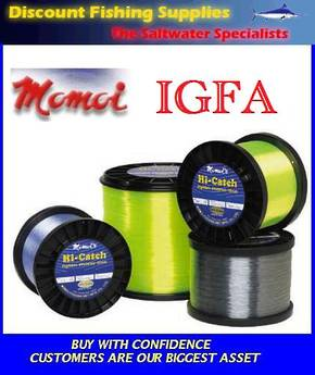 Momoi Hi-Catch Nylon Mono-Line 24kg X 4950yd's (BULK SPOOL) Light Blue (IGFA)