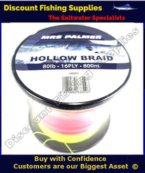 Mrs Palmer HOLLOW CORE RAINBOW BRAID 80lb X 800M (METERED)