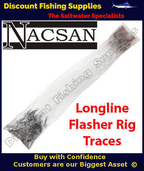 Nacsan Tangle Free Longline Trace Set with Flasher Rig Hooks