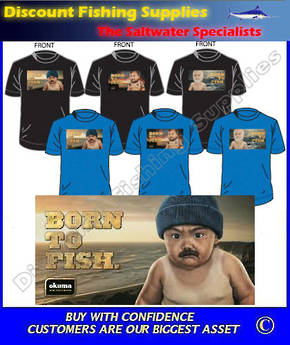"Okuma ""BORN TO FISH"" Tee Shirt - Beanie Baby Medium"