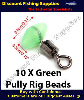 Pully Rig Swivel Beads Green Glow 8mm