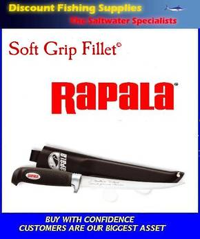 "Rapala Soft Grip Fillet Knife - 6"" (Leather Sheath)"