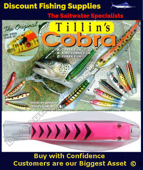 Tillins Cobra Wobbler Lure 19g 3inch Colour 58 with Hook and Bead