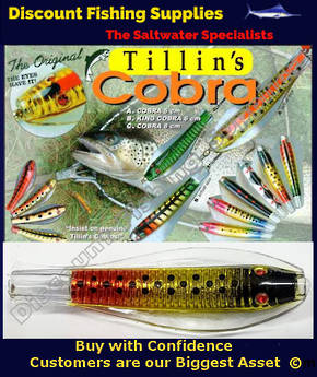 Tillins Cobra Wobbler Lure 19g 3inch Colour 67 with Hook and Bead