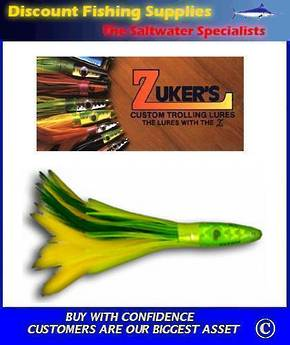"Zuker's 6"" -  Feather Trolling Lure - ZF1 Green/Yellow"