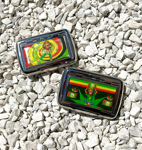 Bob Marley stainless metal Tobacco Case for small smoking paper