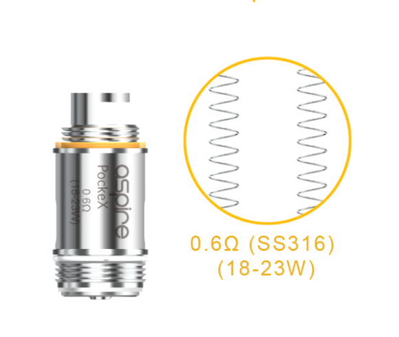Aspire PockeX Atomizers 0.6OHM / 1.2OHM