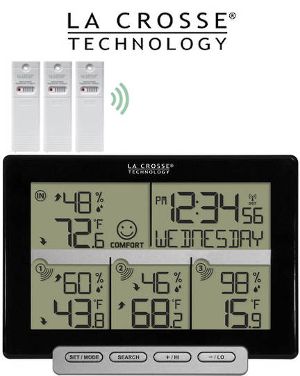 308-1412-3TX La Crosse Temperature Humidity with 3 Sensors
