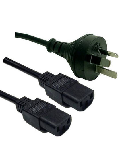 3pin 10A Mains Plug to 2x IEC C13 Female 1.8m Computer Cable