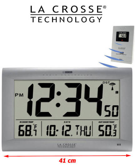 513-1311OT La Crosse Large Wall Clock with Outdoor Temperature