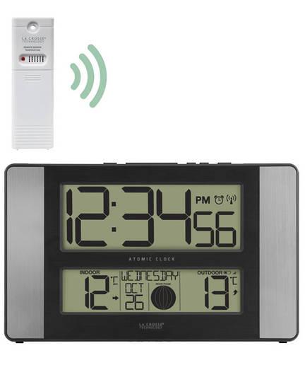 513-1417AL La Crosse Moon Phase Wall Clock with Outdoor Temperature