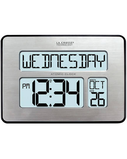 513-1419 La Crosse Digital Back Light Wall Clock with Day Display