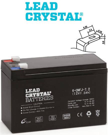 Lead Crystal 6-CNFJ-7.2 SLA 12V 7.2AH Battery