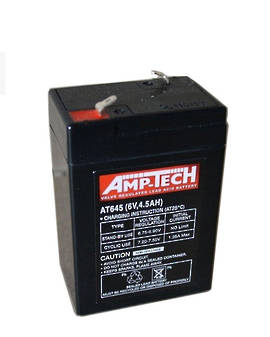 AMP-TECH AT645 6V 4.5AH SLA battery