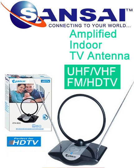 SANSAI Indoor TV Antenna Amplified UHF VHF DTT DAB DVB-T Ready Freeview
