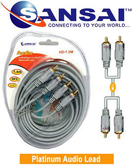SANSAI Heavy Duty 2RCA Plugs to Plugs Cable 1.5m