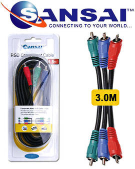 SANSAI 3RCA Plugs RGB Component Cable 3m