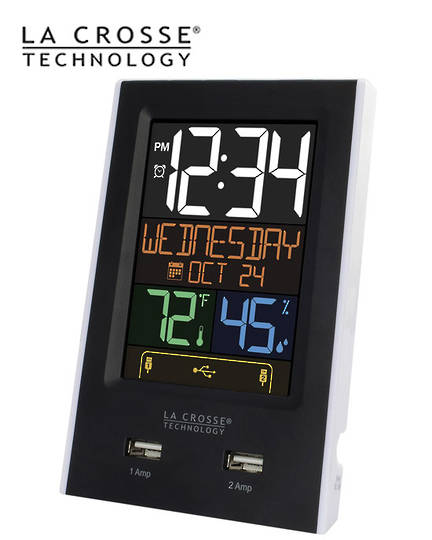 C86224 La Crosse Day Display Alarm Clock with 2 USB Ports