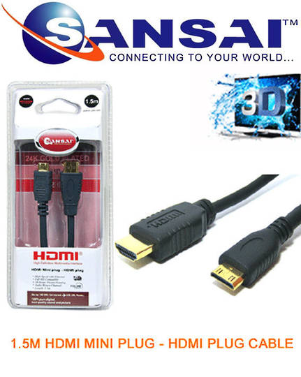 SANSAI HDMI Plug to Mini Plug Cable 1.5m