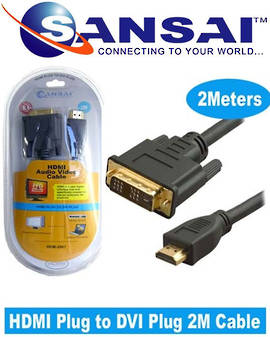 SANSAI HDMI Plug to DVI Plug Cable 2m
