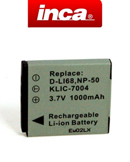 INCA FUJIFILM NP50 PENTAX DLi-68 KODAX KLIC-7004 Camera Battery