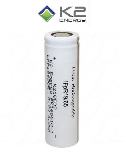 K2 Energy 18650 High Capacity LiFePO4 Rechargeable Battery