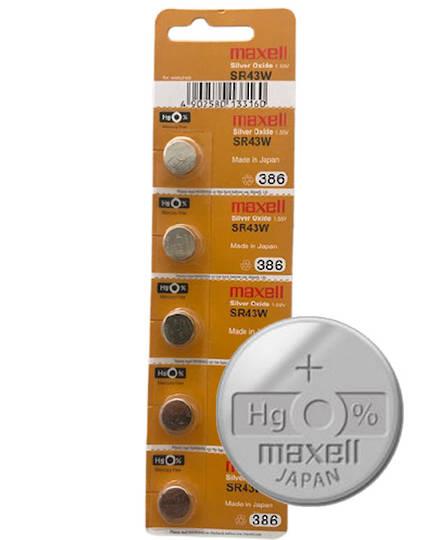MAXELL 386 301 SR43W SR43SW Watch Battery 5PCs