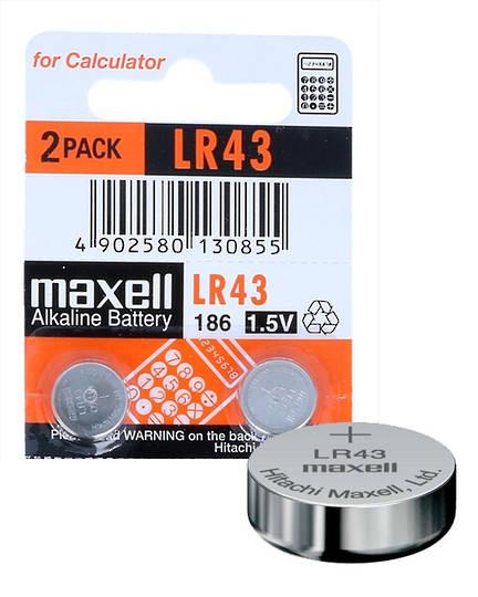 MAXELL LR43 G12A V12GA L1142 Alkaline Battery 2PK