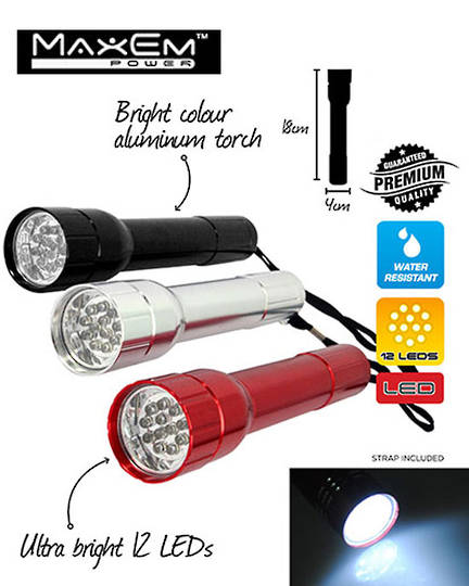 MAXEM 12 LED Aluminium Torch 2PCS