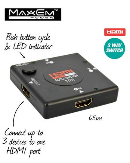 MAXEM 3 Way HDMI Switches