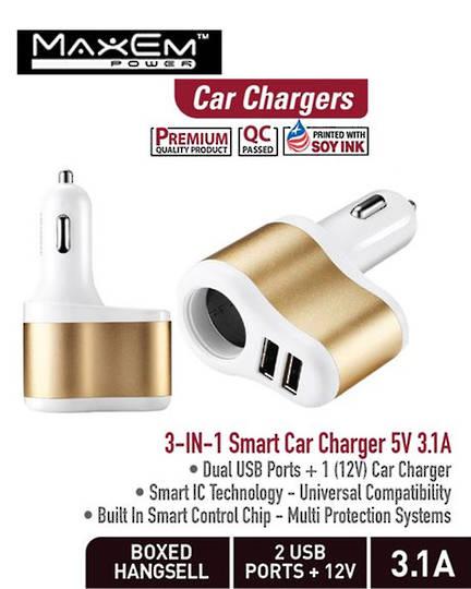 MAXEM 3-in-1 Smart USB Car Adaptor