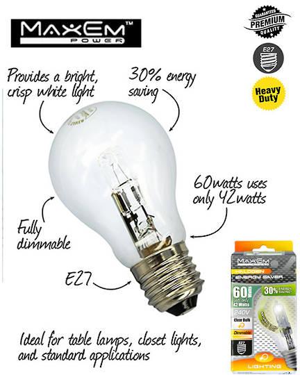 MAXEM 60W Halogen E27 Screw Clear Bulb 5PCS