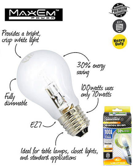 MAXEM 100W Halogen E27 Screw Clear Bulb 5PCS