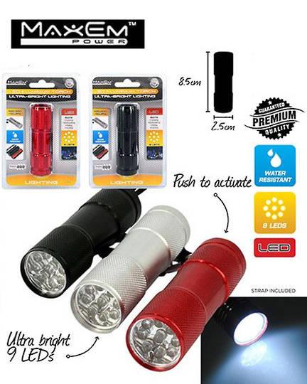 MAXEM 9 LED Aluminium Bright Torch 3PCS
