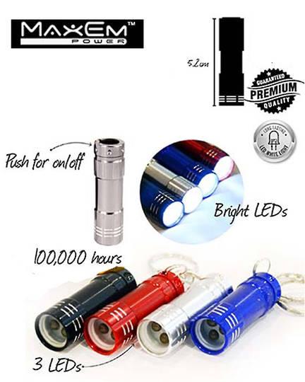MAXEM Mini 3 LED Keyring Torch 4PCS