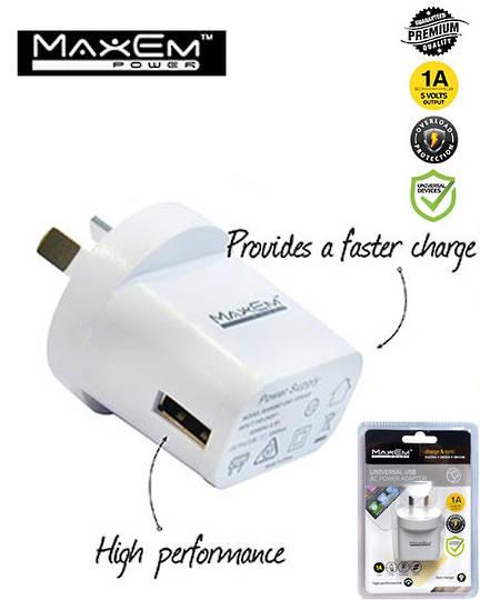 MAXEM USB 1A Power Adaptor