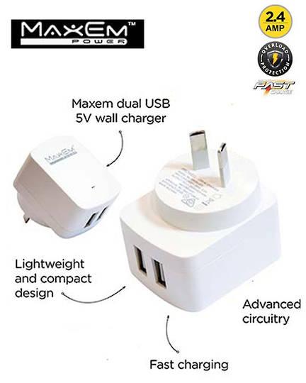 MAXEM USB Dual Power Adaptor