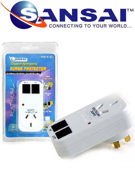 SANSAI Surge Protector with Phone Line Protection