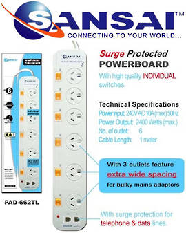 SANSAI 6 Way Surge Protected Power Board with Phone Line Protection