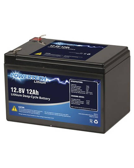 POWERTECH 12.8V 12Ah Lithium LiFePO4 Deep Cycle Battery