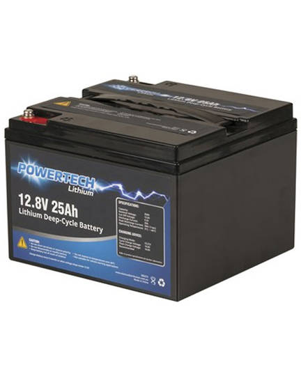 POWERTECH 12.8V 25Ah Lithium LiFePO4 Deep Cycle Battery