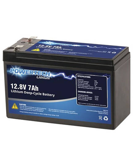 POWERTECH 12.8V 7Ah Lithium LiFePO4 Deep Cycle Battery